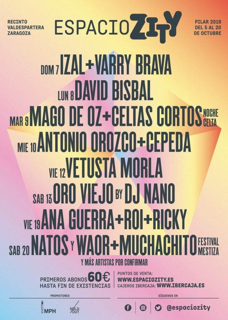 Espacio Zity - Toda la programación musical del Espacio Zity Valdespartera para estas Fiestas del Pilar de Zaragoza 2018