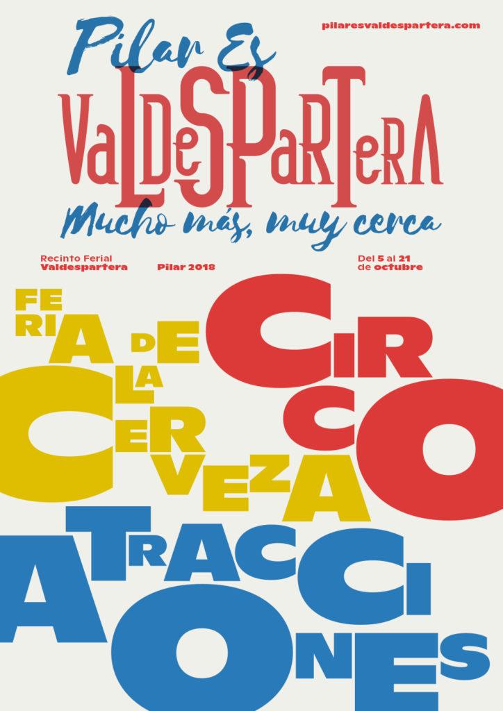 Circo, fiesta de la cerveza y atracciones - Cartel anunciador del Recinto Ferial Valdespartera en las Fiestas del Pilar de Zaragoza 2018
