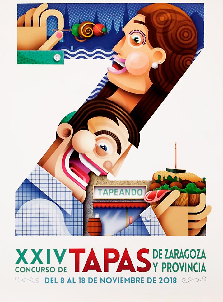 Concurso de Tapas de Zaragoza - Cartel del XXIV Concurso de Tapas de Zaragoza y Provincia 2018 en el que participan 113 establecimientos
