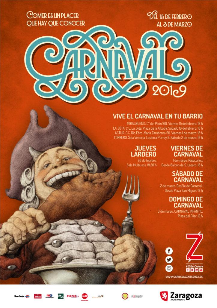 Cartel del Carnaval en Zaragoza 2019 disfruta de los mejores actos en la capital aragonesa