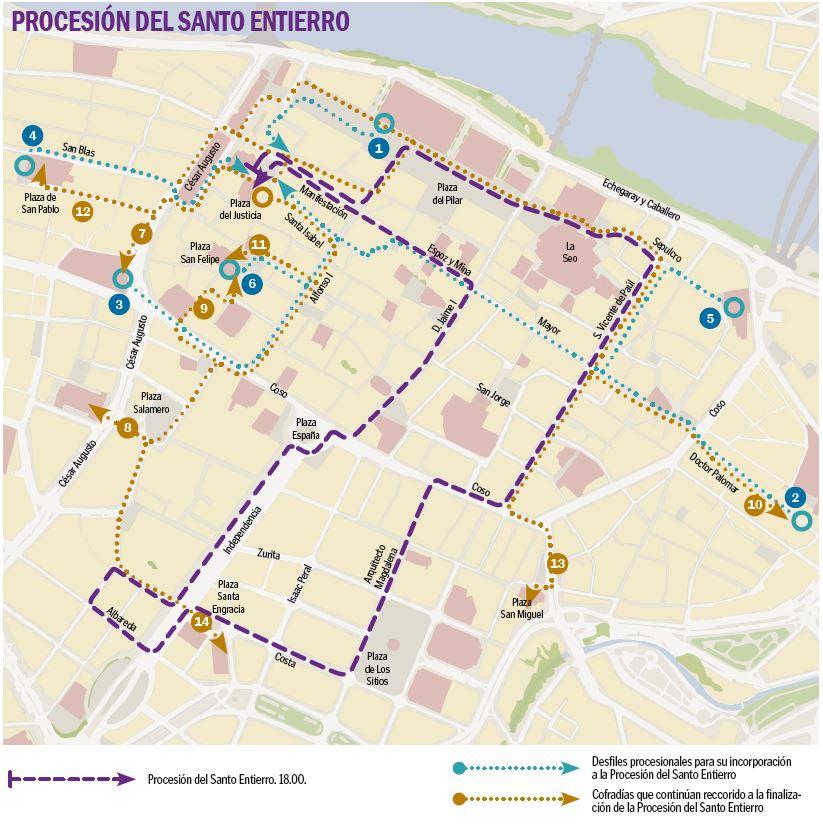 Programa de Semana Santa en Zaragoza 2019 - Recorrido Procesión del Santo Entierro del Viernes Santo 19 de abril de 2019 en Zaragoza