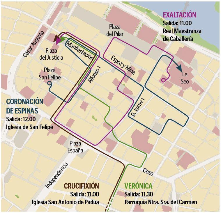 Programa de Semana Santa en Zaragoza 2019 - Recorridos procesiones y vía crucis Jueves Santo mañana 18 de abril de 2019 en Zaragoza