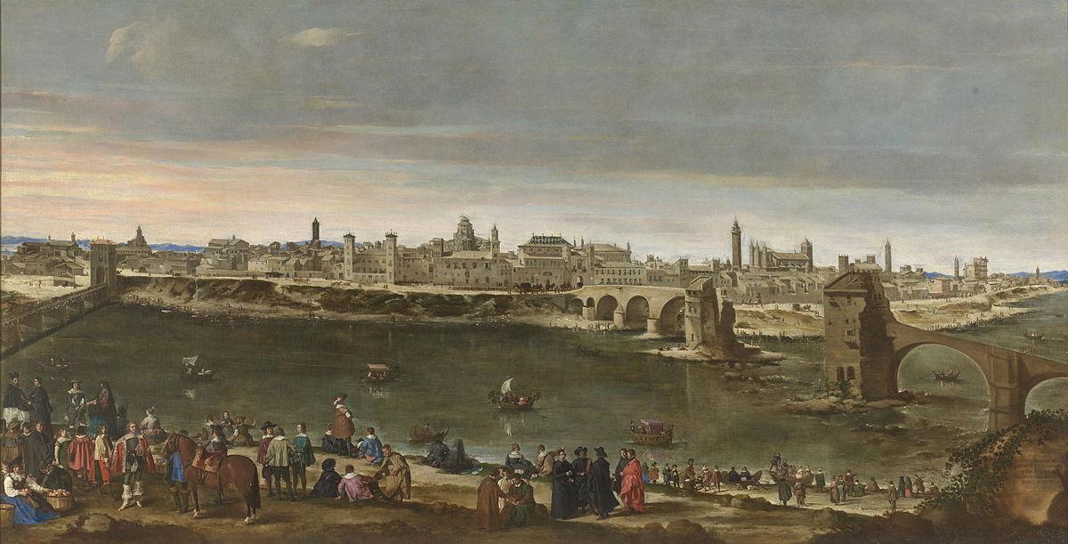 Vista de la Ciudad de Zaragoza - Lienzo al óleo de Juan Bautista Martínez del Mazo, yerno de Velázquez, pintado en 1647, que se conserva en el Museo del Prado