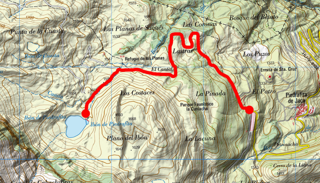 Excursión al Ibón de Piedrafita con raquetas de nieve, mapa